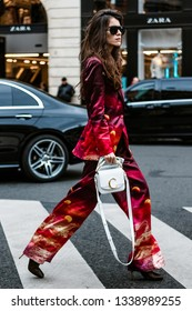 PARIS, FRANCE - MARCH 04, 2019: Chiara Totire wearing pantsuit seen in the street after Stella McCartney, during Paris Fashion Week Womenswear Fall/Winter 2019/2020.
