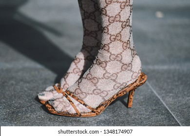 Paris, France - March 04, 2019: Street style outfit -  Grey Tights, Shoes by Gucci in detailafter a fashion show during Paris Fashion Week - PFWFW19