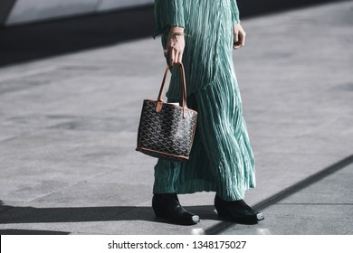 Paris, France - March 04, 2019: Street style outfit -   after a fashion show during Paris Fashion Week - PFWFW19