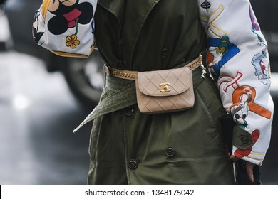 Paris, France - March 04, 2019: Street style outfit -  Purse in detail after a fashion show during Paris Fashion Week - PFWFW19