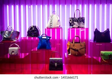 Paris, France - March 04, 2019: Luxury hand bags in a Printemps store on Boulevard Haussmann, in Paris, March 2019.