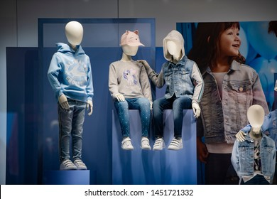 Paris, France - March 04, 2019: Children clothing in a store in Paris, March 2019.