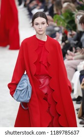 PARIS, FRANCE - MARCH 04: A model walks the runway during the Valentino show as part of the Paris Fashion Week Womenswear Fall/Winter 2018/2019 on March 4, 2018 in Paris, France.