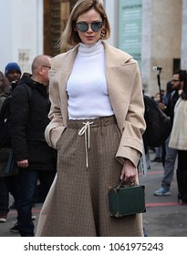 PARIS, France- March 05 2018: Woman on the street during the Paris Fashion Week