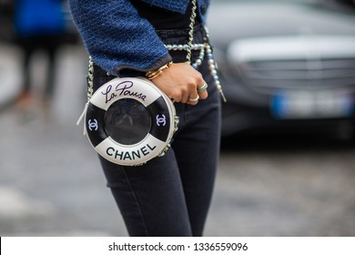 Paris, France - March 05 2019: Paris Fashion Week Street Style  Fall/Winter 2019/2020 Faye Tsui outside Chanel fashion Show