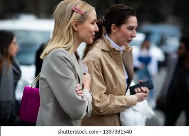 Paris, France - March 05 2019: Paris Fashion Week Street Style  Fall/Winter 2019/2020 Leonie Hanne outside Lacoste fashion Show