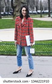 Paris, France - March 05, 2019: Street style outfit -  Eva Chen after a fashion show during Paris Fashion Week - PFWFW19