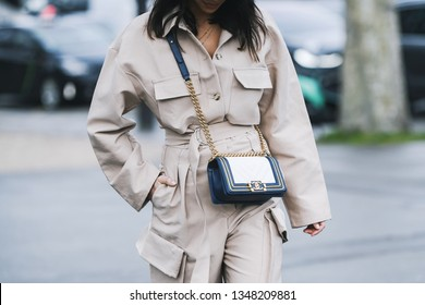 Paris, France - March 05, 2019: Street style outfit -  Fashionable person  after a fashion show during Paris Fashion Week - PFWFW19