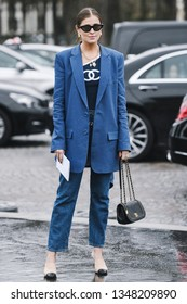 Paris, France - March 05, 2019: Street style outfit -  Fashionable person wearing Chanel after a fashion show during Paris Fashion Week - PFWFW19