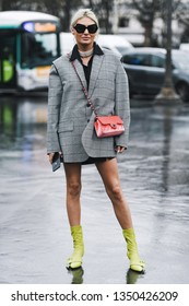 Paris, France - March 05, 2019: Street style outfit -  Chanel outfit after a fashion show during Paris Fashion Week - PFWFW19