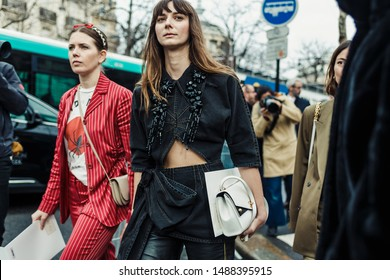 PARIS, FRANCE - MARCH 05, 2019: Guests are arriving for MIU MIU show, during Paris Fashion Week Womenswear Fall/Winter 2019/2020.