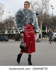 PARIS, France- March 06 2018: Sofie Valkiers on the street before the Chanel show during the Paris Fashion Week