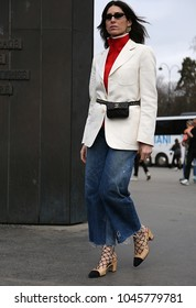 PARIS, France- March 06 2018: Deborah Reyner on the street during the Paris Fashion Week