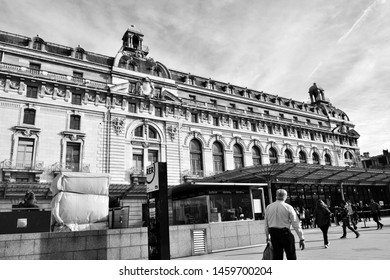 Paris, France - march 10th 2017 : facade of the Orsay museum, with people. The place was a trainstation before.