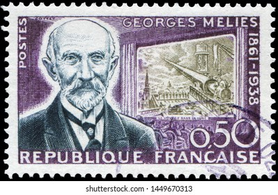 Paris, France - March 11, 1961: Georges Melies(1861-1938), french motion picture pioneer, illusionist and filmmaker. Stamp issued by French Post in 1961 for his centenary birth.