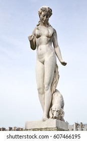 Paris/ France - March 11 2017. Work of Louis Auguste (Abbeville 1814- Paris 1875) Nymph marble, 1866. Place in the garden of the Tuileries in 1872.