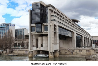 PARIS, FRANCE - MARCH 11, 2018- The headquarters of the French Ministry of Finance and Economy is located in the Bercy neighborhood in the 12th arrondissement of Paris, extending over the Seine river.