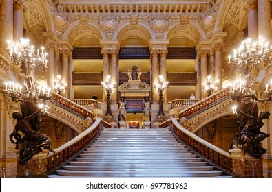 PARIS, FRANCE, MARCH 14, 2017 : interiors, frescoes and architectural details of the palais Garnier, Opera of Paris, march 14, 2017 in Paris, France.