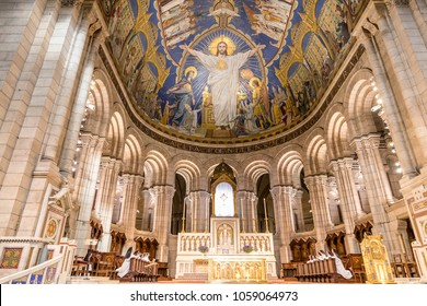Paris, France - March 14, 2018: Main Altar inside The Basilica of the Sacred Heart of Paris, is a Roman Catholic church and minor basilica, dedicated to the Sacred Heart of Jesus