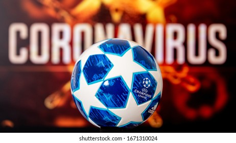 PARIS, FRANCE, MARCH. 15. 2020: Football Europa Champions League 2020 Canceled or Postponed due to Coronavirus pandemic, official champions league ball,