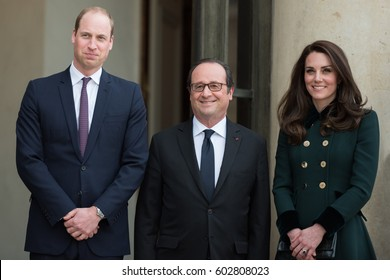 Paris, FRANCE - March 16, 2017 : French President Francois Hollande welcoming the Duke and the Duchess of Cambridge Prince William and Princess Kate Middleton at the Elysee Palace