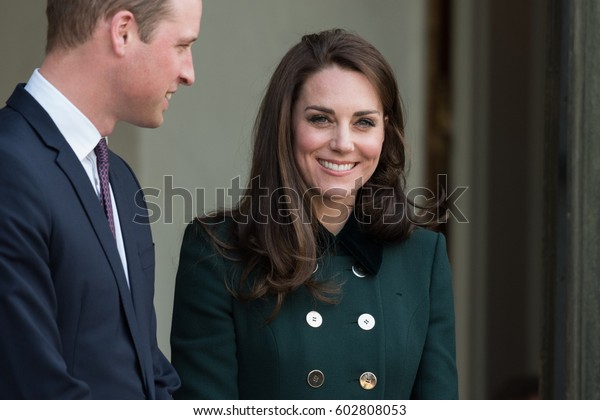Paris, FRANCE - March 16, 2017 : The Duchess of Cambridge Kate Middleton at the Elysee Palace with her husband the Duke of Cambidge to speak with the French President.