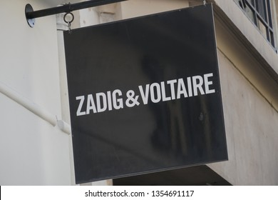 Paris, France - March 16, 2019: Zadig & Voltaire store. Zadig and Voltaire is a French brand for ready-to-wear fashion