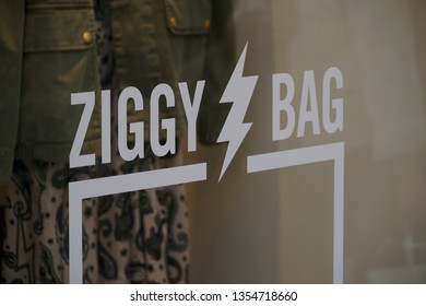 Paris, France - March 16, 2019: Advertisement of Ziggy Bag from Zadig & Voltaire, French brand for ready-to-wear fashion