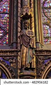 PARIS, FRANCE - MARCH 17, 2012: Sainte Chapelle church,saint Statue in the Upper Chapel's interior