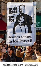 Paris, France - March 17, 2016: French unions and students protest against Khomri labor reform