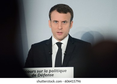 PARIS, FRANCE - MARCH 17 , 2017 : Emmanuel Macron in conference at l'Hotel des arts et metiers about National defense policy for his project for the french presidential election of 2017.