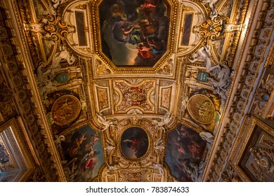 PARIS, FRANCE, MARCH 17, 2017 : architectural details and ceilings of gallery of Apollon,  march 17, 2017, in Paris, France