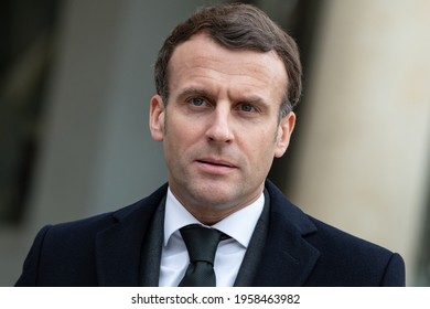 Paris, FRANCE - march 17 2021: The french president Emmanuel Macron in press conference with President of the Council of Ministers of the Republic of Poland.