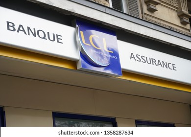 Paris, France - March 18, 2019: LCL Banque et assurance bank branch, a major French financial services company owned by Crédit Agricole. LCL is an abbreviation of Le Crédit Lyonnais, the former name