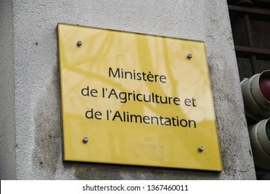 Paris, France - March 18, 2019: Sign of Ministère de l'Agriculture et de l'Alimentation, the Ministry of Agriculture, Agrifood and Forestry of France, governmental body