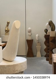 PARIS, FRANCE - March 18,2019:Interior of Brancusi Studio.Constantin Brancusi was a Romanian sculptor, painter and photographer who made his career in France. Considered a pioneer of modernism.