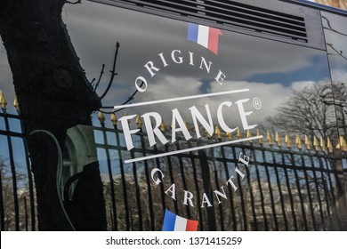 Paris, France - March 19, 2019: Origine France Garantie label, trademark created in 2011 to guarantee consumers the traceability of a product by giving a clear and objective indication of origin