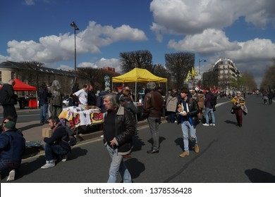 Paris, France - March 19, 2019: People walking in front of the stand of the Party of European Socialists (PES) political party
