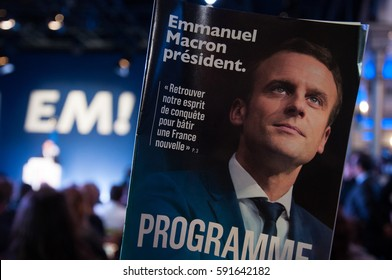 "PARIS, FRANCE - MARCH 2, 2017 : Emmanuel Macron has launched his manifesto for the 2017 french presidential election with his political party ""En Marche !"""