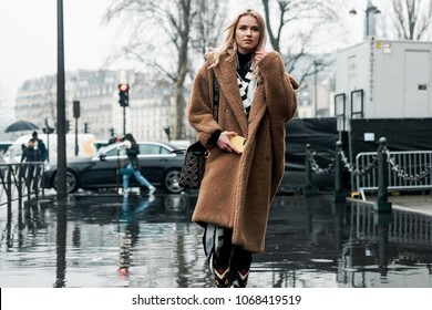 PARIS, FRANCE - MARCH 2, 2018: Julia Kuczynska wears a black and white striped dress, a brown fluffy coat, a Dior bag, outside BALMAIN show at Paris Fashion Week FW'18-19