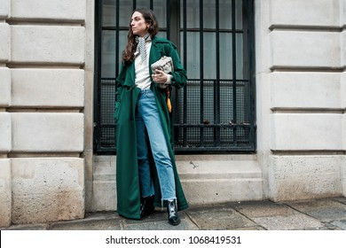 PARIS, FRANCE - MARCH 2, 2018: Erika Boldrin before NINA RICCI show at Paris Fashion Week FW'18-19