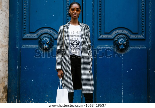 PARIS, FRANCE - MARCH 2, 2018: Tami Williams after BALMAIN show at Paris Fashion Week FW'18-19