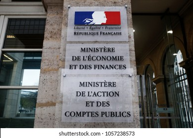 Paris, France - March 20, 2018. The seat of the Ministry of Finance building
