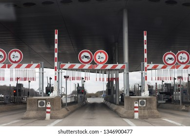 Paris/ France - March 20 2019: gateway to the highway. entrance to the toll road. motorway.