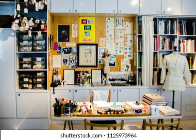 Paris, France - March 2018: atelier of Yves Saint Laurent in Yves Saint Laurent fashion museum