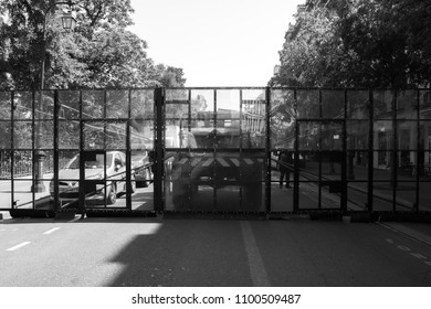 Paris, France - March 2018: French riot police blockade a road ahead of a protest