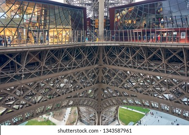 PARIS, FRANCE - MARCH, 2019: Inside the Eiffel Tower on March 3 2019 in Paris, France, Europe.