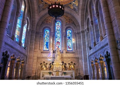 PARIS, FRANCE - MARCH 2019: Interior details of the Roman Catholic church and minor basilica Sacre-Coeur. It is a large medieval cathedral located on the highest city point in Paris, France, Europe