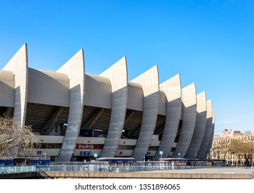 "Paris, France - March 21, 2019: Backside view of the ""Paris"" grandstand of the Parc des Princes stadium, built in 1972 and home stadium of Paris Saint-Germain (PSG) football club."