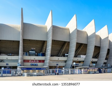 "Paris, France - March 21, 2019: The gate A giving access to the ""Paris"" grandstand in the Parc des Princes stadium built in 1972 and home stadium of Paris Saint-Germain (PSG) football club."